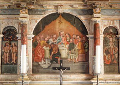 Adam und Eva - Abendmahl - Kreuzigung: Bemalung am Alter der Kirche Fürstenwalde